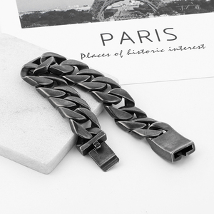 Image 3 - 20mm Wide 316L Stainless Steel Black color Bracelet Boys Wristband Cut Rombo Double Curb Link Buddha Bracelet for Gift Jewelry