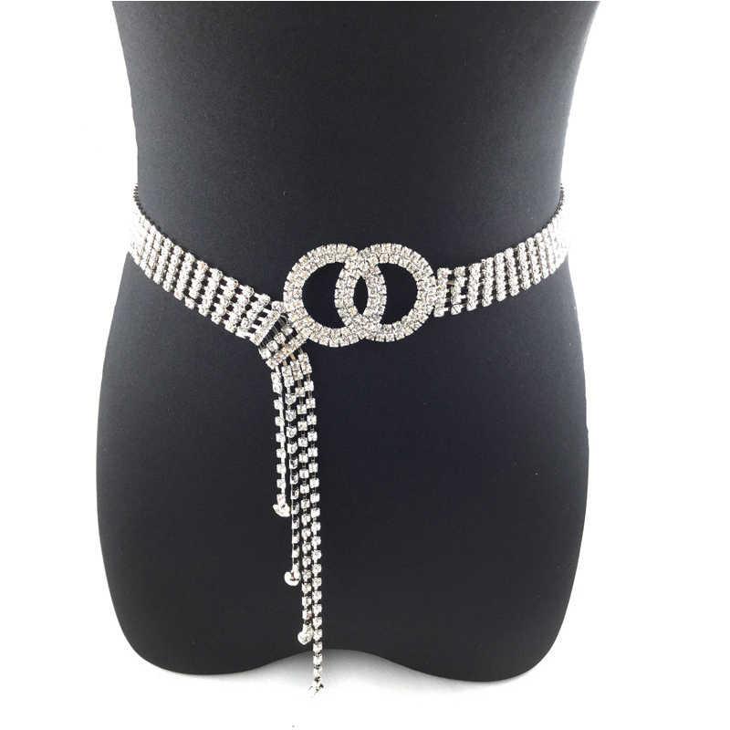 Cinturón de diamantes de agua con incrustaciones de diamantes de cristal y cadena de cintura elegante Cinturon Vintage cinturón de vestir para Mujer