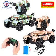 Sharefunbay Rc Tank 2.4G 4WD Kan Fire Water Bommen Rc Tank Drift Horizontale Beweging 360 ° Roterende Rc Speelgoed(China)
