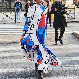 Dresses Celmia Fashion Maxi Long Dress Women Lapel Shirt Dress Long Sleeve Kaftan Maxi 2020 Autumn Printed Ruffles Vestidos 5XL