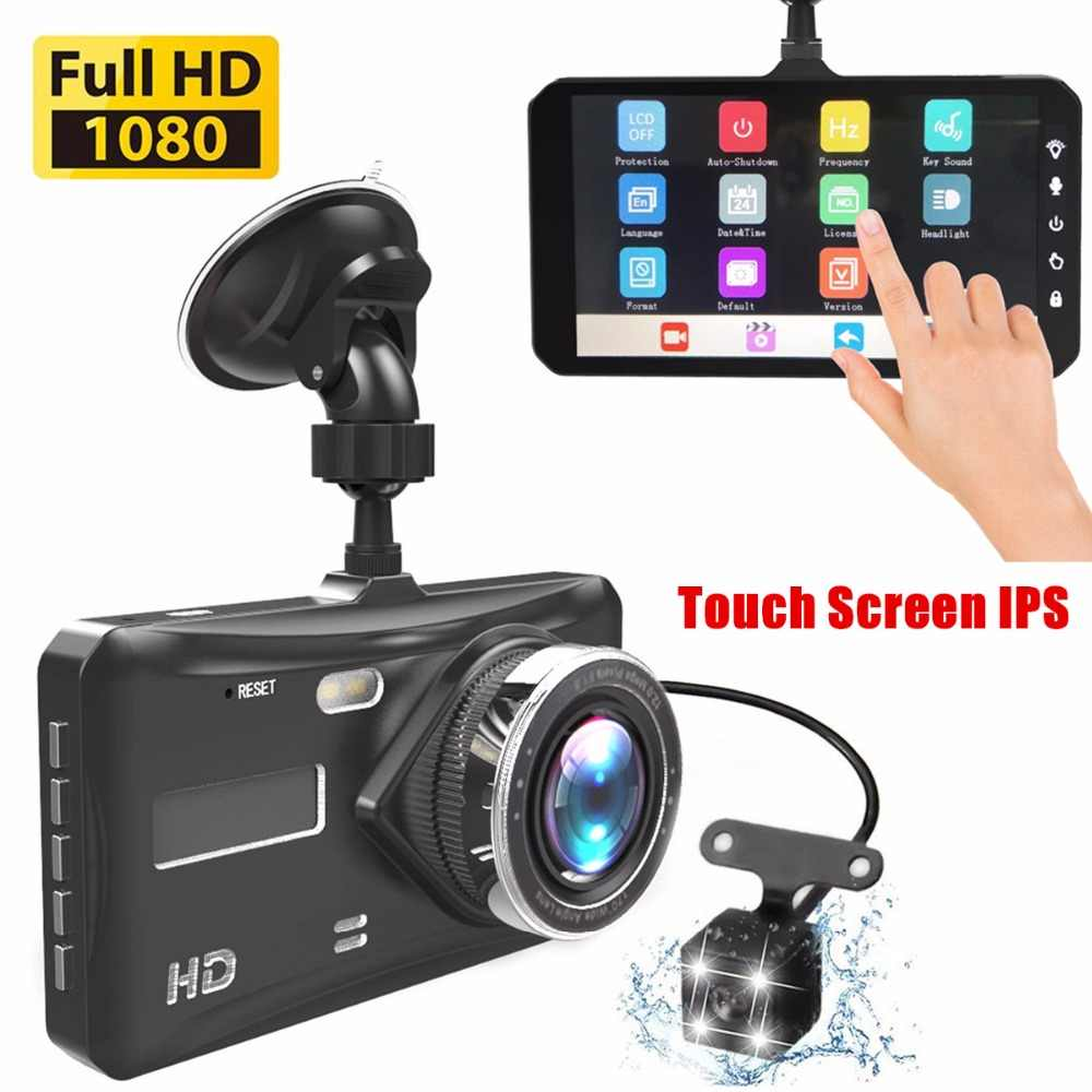 "Dash Cam Dual Lens mini Auto DVR Full HD 1080P 4 ""Touch Screen IPS Met Backup Achteruitrijcamera registrator Nachtzicht Video Recorde"