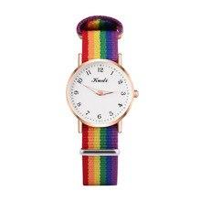 Fashion Luxury Women's Quartz Watches Ladies Rainbow Color Luminous Fabric Belt Wrist Watch for Women Stylish Dress Reloj Mujer