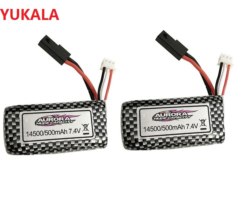 YUKALA  7.4v 500mAh/7.4v 1000mah  Lipo Battery 14500 For XINLEHONG 9130 9136 9137 9130 9136 9137 Q901 High Speed RC Truck Rc Car