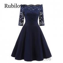 Rubilove New Female Dress Sexy Half Sleeve Slash Neck Robe Vintage Retro Casual Party Rockabilly Lace Women