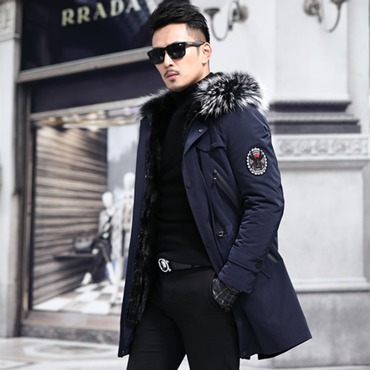 2020 Parka Real Fur Coat Men Long Winter Jacket Mink Fur Liner Raccoon Fur Luxury Coat Men Mink Jackets Parkas 8806