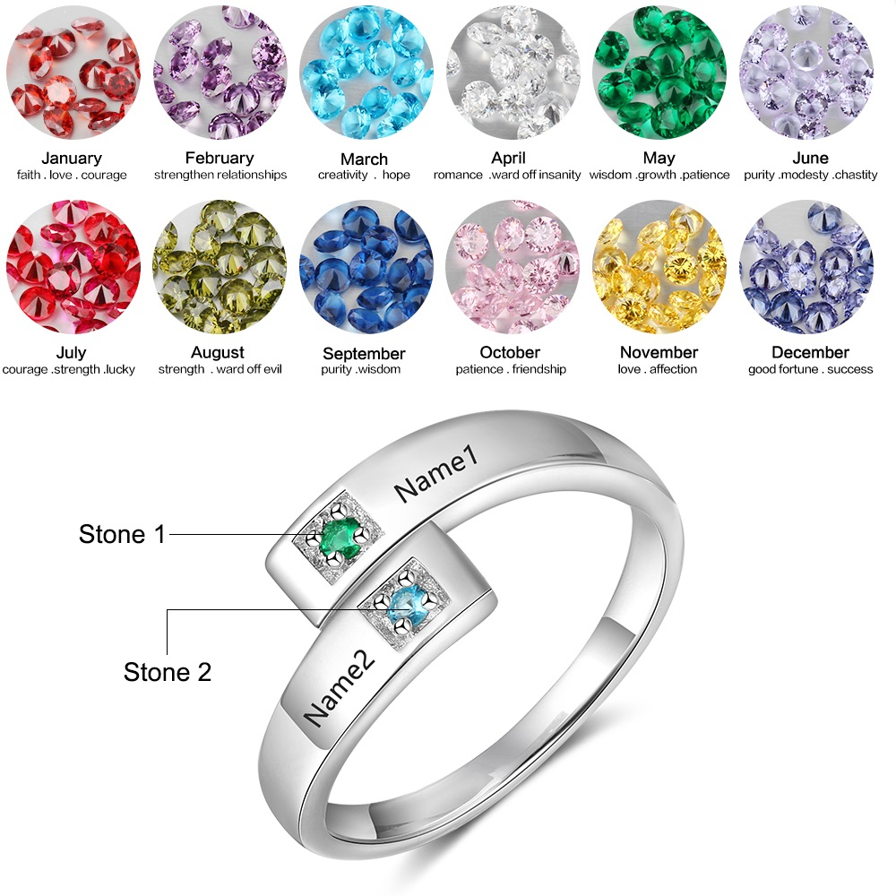 Personalized Custom Engraved Rings with 2 Birthstone Mothers Name Rings For Women Customized Promise Ring Anniversary Gift
