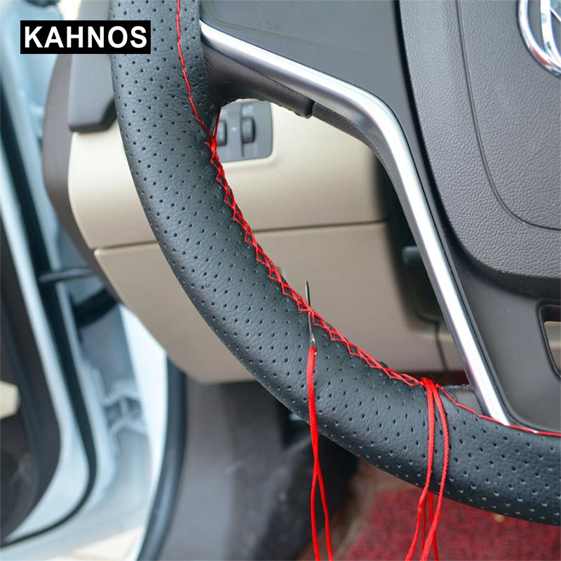 3 Color DIY Car Steering Wheel Cover With Needles And Thread Artificial Leather Car Styling Covers Suite Steering cover couvre title=