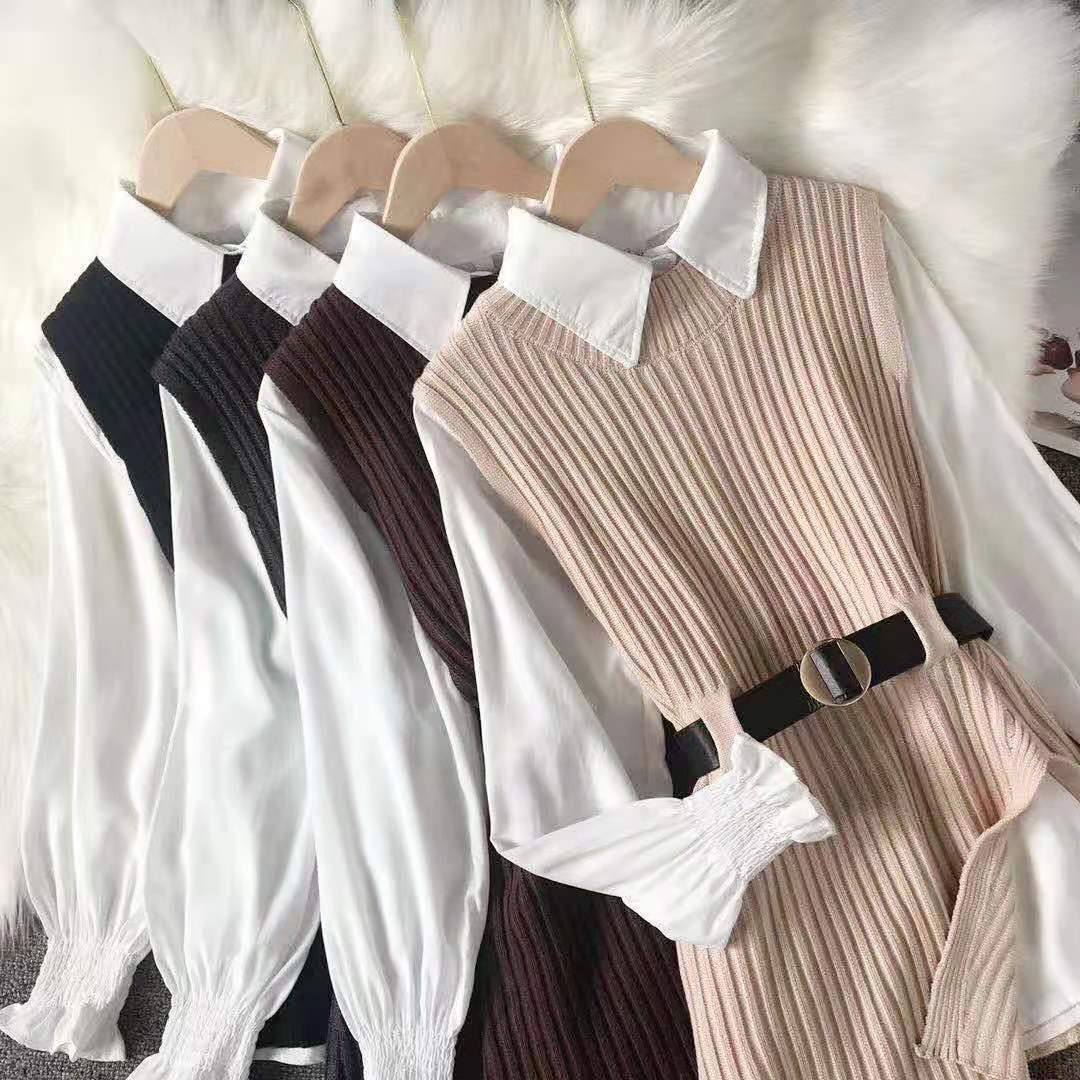 Korean new product autumn and winter models base white shirt with vest and knitted vest two piece western style blouse women
