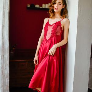 Image 5 - Home Clothes Silk Lace Embroidery Floral Women Sleepwear Ladies Sexy Lingerie Babydoll Nightdress Nightgown Homewear