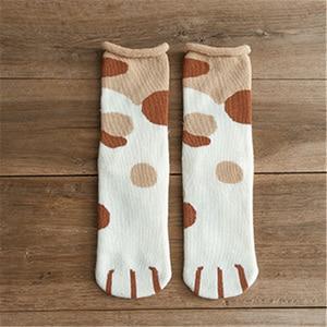 Новинка 2020, осенне зимние носки из хлопка с мультяшным рисунком кошачьей лапы, женские носки, Забавный милый стиль, рождественский подарок, женский наряд Носки      АлиЭкспресс