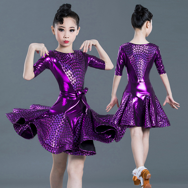 Kid Purple Elegant Pleated Modern Salsa Latin Ballroom Dance Dresses For Girl Dance Clothes Dancing Competition Costume Wear