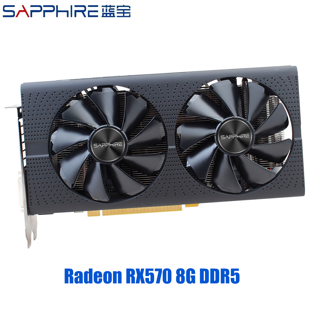 SAPPHIRE AMD Radeon RX 570 8GB Graphics Cards RX570 Gaming PC Video Card GDDR5 256bit PCI Express 3.0 Desktop For PC Used Cards
