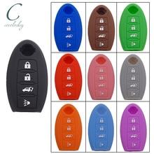 Cocolockey silikonowe etui klucza samochodowego Fob guma dla Nissan Altima Maxima akcesoria samochodowe 4 przycisk klucz zdalny brak Logo