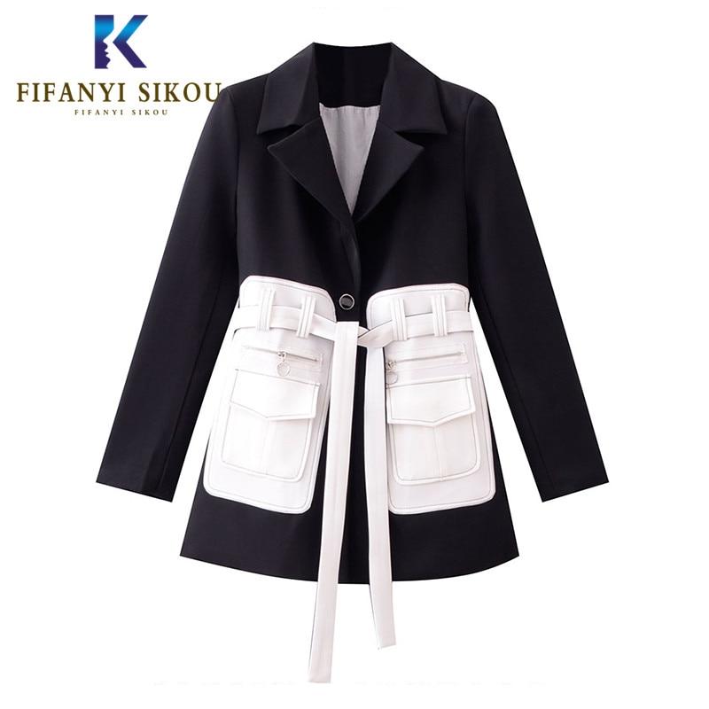 Black Blazer Women High quality Blazers Jacket Fashion Patchwork Design Long sleeve Suit Jackets Lady Office Casual Blazer Coat