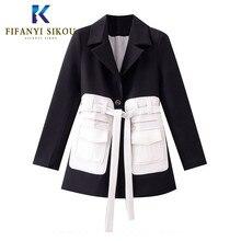 Black Blazer Women High quality Blazers Jacket Fashion Patch