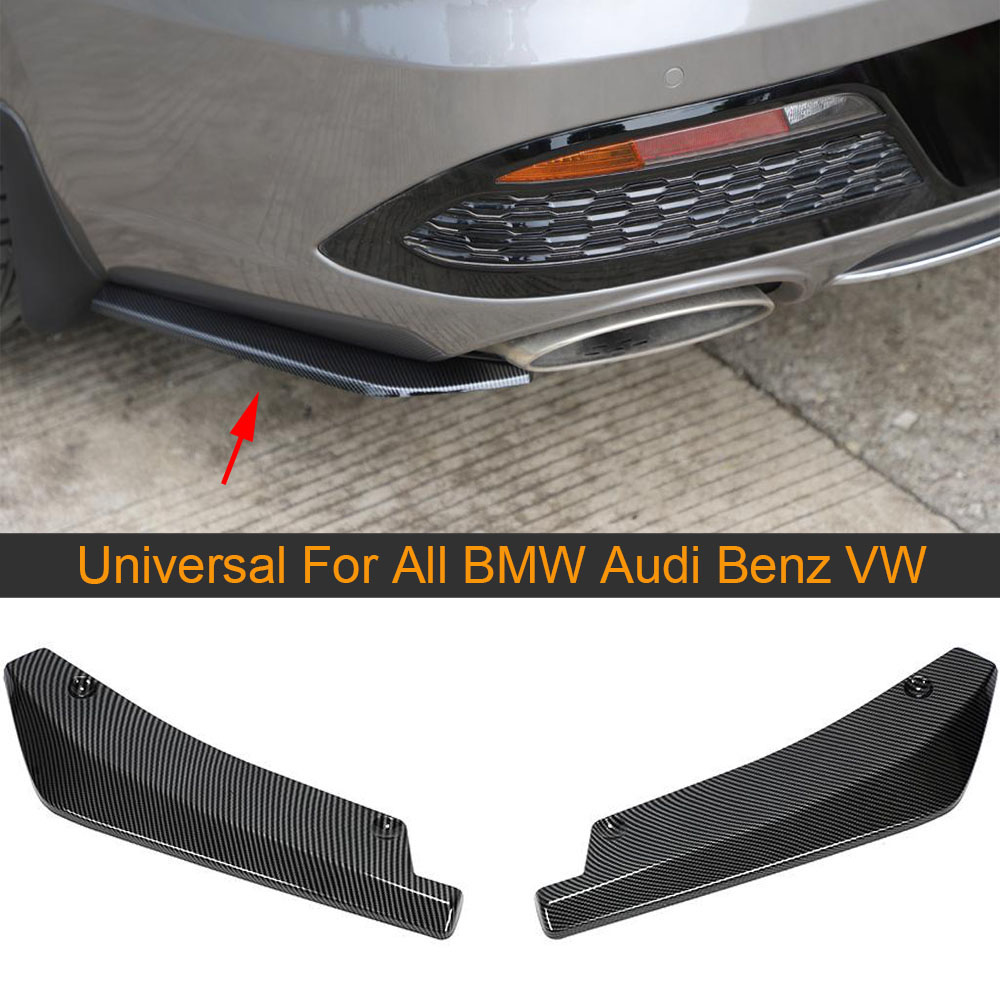 Universal Car Rear Bumper Splitters for Benz W205 W176 For BMW M3 M4 For Audi A3 A4 A5 All Sedan ABS Carbon Look/ Glossy Black image