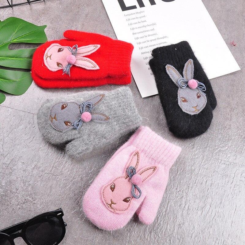 YELITE Cartoon Rabbit Gloves Winter Children Thicken Warm Gloves Kids Boys Girls Cute Full Fingers Rabbit Hair Wool Mittens