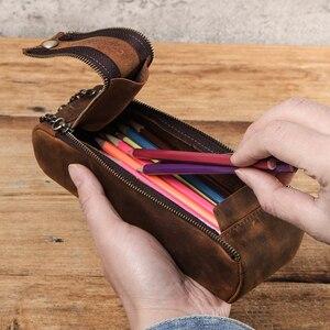 Image 5 - 정품 가죽 지퍼 펜 연필 케이스 가방 수제 빈티지 레트로 크리 에이 티브 Standable 학교 고정 펜 파우치 대용량