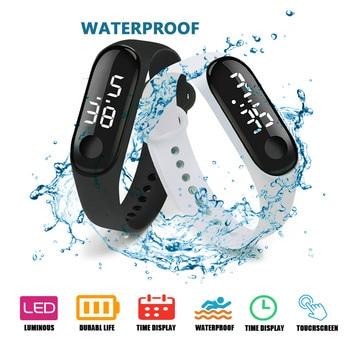 цена Top Sport Waterproof Men Watch LED Digital Watch Women Children Fitness Wristwatch Touch Screen Silicone Strap Watch for Kids онлайн в 2017 году