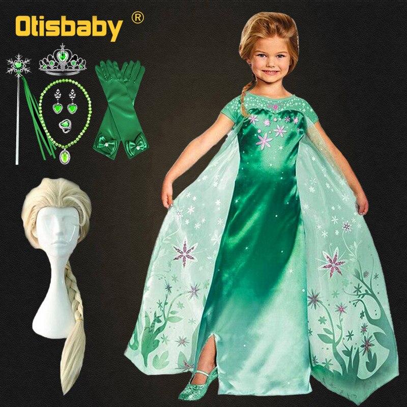 Christmas Elsa Dress For Girls Anna Dress Up Snow Queen Carnival Costume Green Fairy Frock For Girls Fantasia Elza Infantil