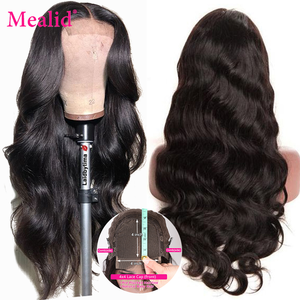 Mealid Lace Closure Human Hair Wigs Remy 4x4 5x5 6x6 Brazilian Body Wave Wigs Pre Plucked With Baby Hair Natural Hairline 150%