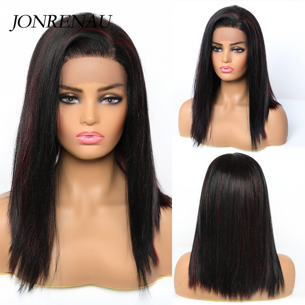 Image 3 - JONREANU Synthetic Lace Front Wig Short Curly Ombre Brown Heat Resistant Fiber Afro Wig for African American WomenSynthetic None-Lace  Wigs   -