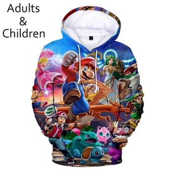 Camiseta con estampado 3D Super Smash Bros Sudaderas con capucha Ultimate para hombre y mujer, jerséis para niños, sudaderas de otoño para niño y niña