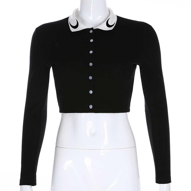 Darlingaga шикарный черный Ребристый трикотажный футболка Женская Осенняя облегающая футболка с длинным рукавом укороченный топ с принтом Луны футболка Femme пуговицы