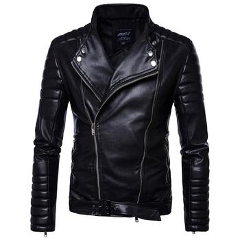 Classic Oblique Zipper Jacket Men 2019 Brand Motorcycle Biker Jacket Men Pu Leather Jacket Mens Streetwear Punk Jackets Coats