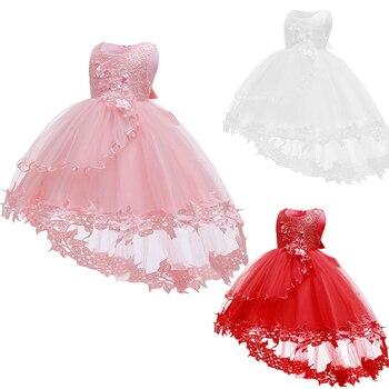 цена на Baby Girl Holy Communion Dress Kids Birthday Party Vestido White Tutu Ball Gown Fancy Flower Princess Dress Baby Birthday Dress