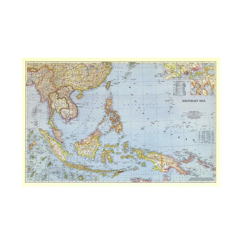 A2 Size Southeast Asia 1944 World Map Horizontal Map World Detailed Poster Wall Chart Paper Kraft Paper Home Office Decoration