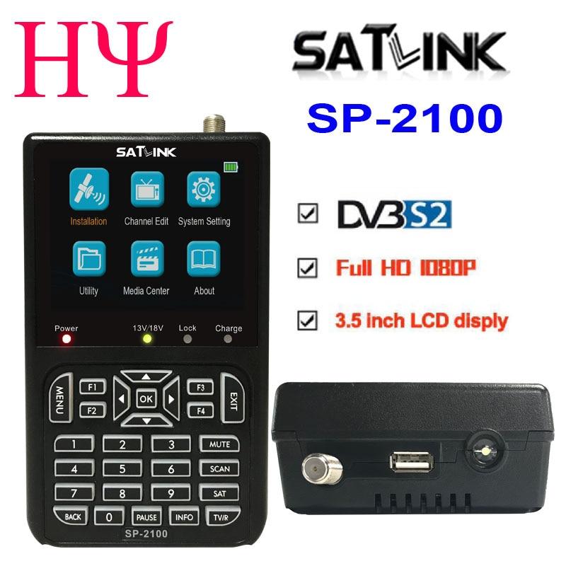 SATLINK SP-2100 HD Sat Finder DVB S/S2 Satfinder MPEG-2/4 Digital Satellite Finder Meter With 3.5 Inch LCD Screen Pk WS 6906 ACM