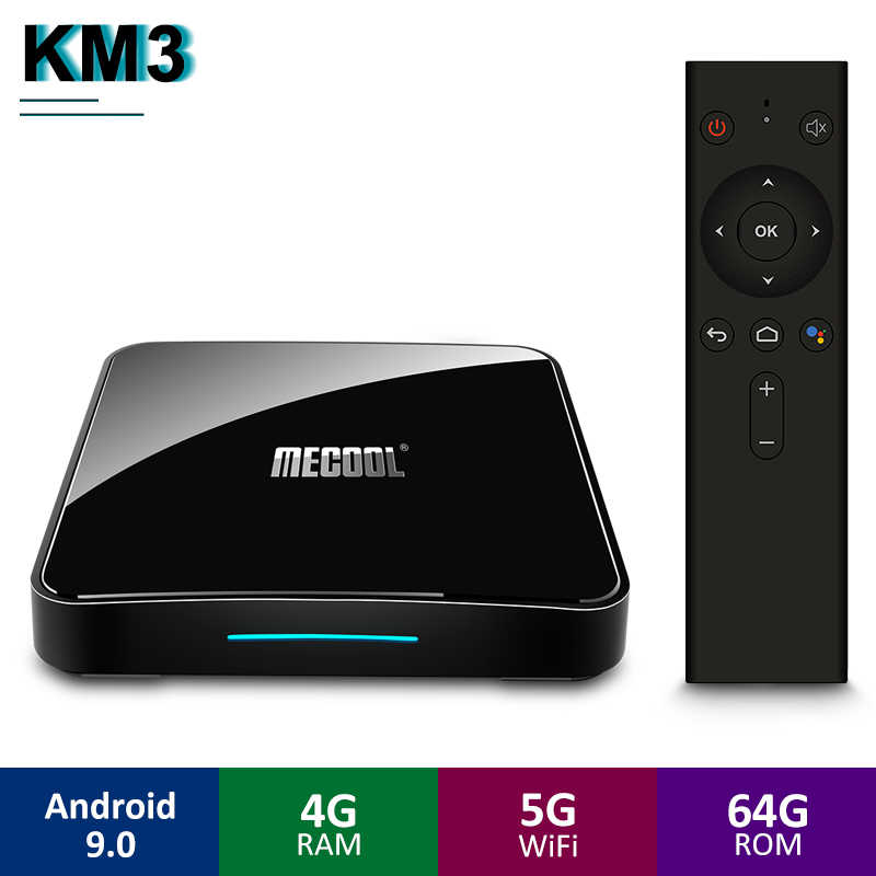 Mecool KM3 ATV Android 9.0 TV Box Google certifié S905X2 4GB LPDDR4 64GB Android 9.0 5G WIFI BT4.0 commande vocale TV coffret