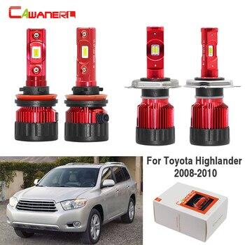 Cawanerl 4 X Car H11 H4 LED Headlight Light Hi/Lo Beam + Fog Light 60W 9000LM White 12V For Toyota Highlander 2008 2009 2010