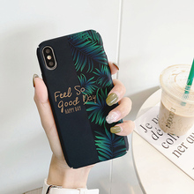 For iPhone 6s 7 8 Art Floral Flower Phone Case IPhone X XS 7plus 8plus 6 Soft Silicone Green Leaf Marble Cover case