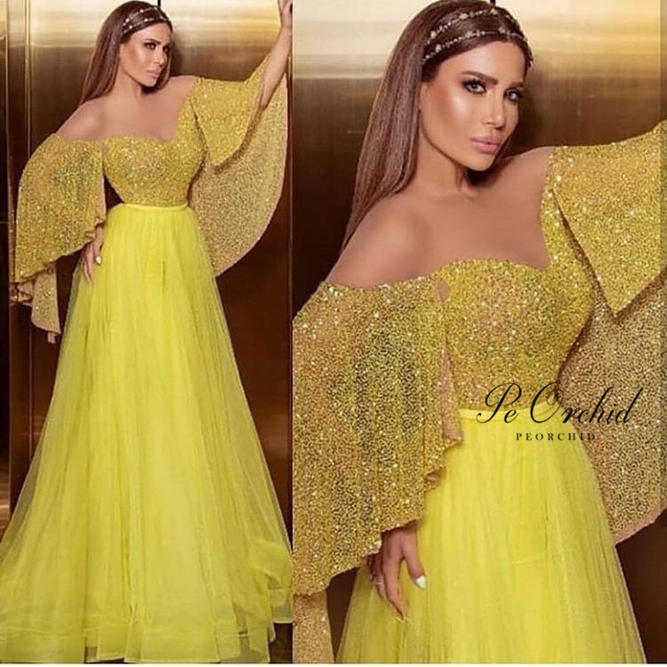 schiudere Rafforzare famiglia reale  PEORCHID Yellow Gold Sequin Prom Dress Glitter 2020 Tulle Night Dresses  Party For Women Elegant Long Evening Gowns|Evening Dresses| - AliExpress