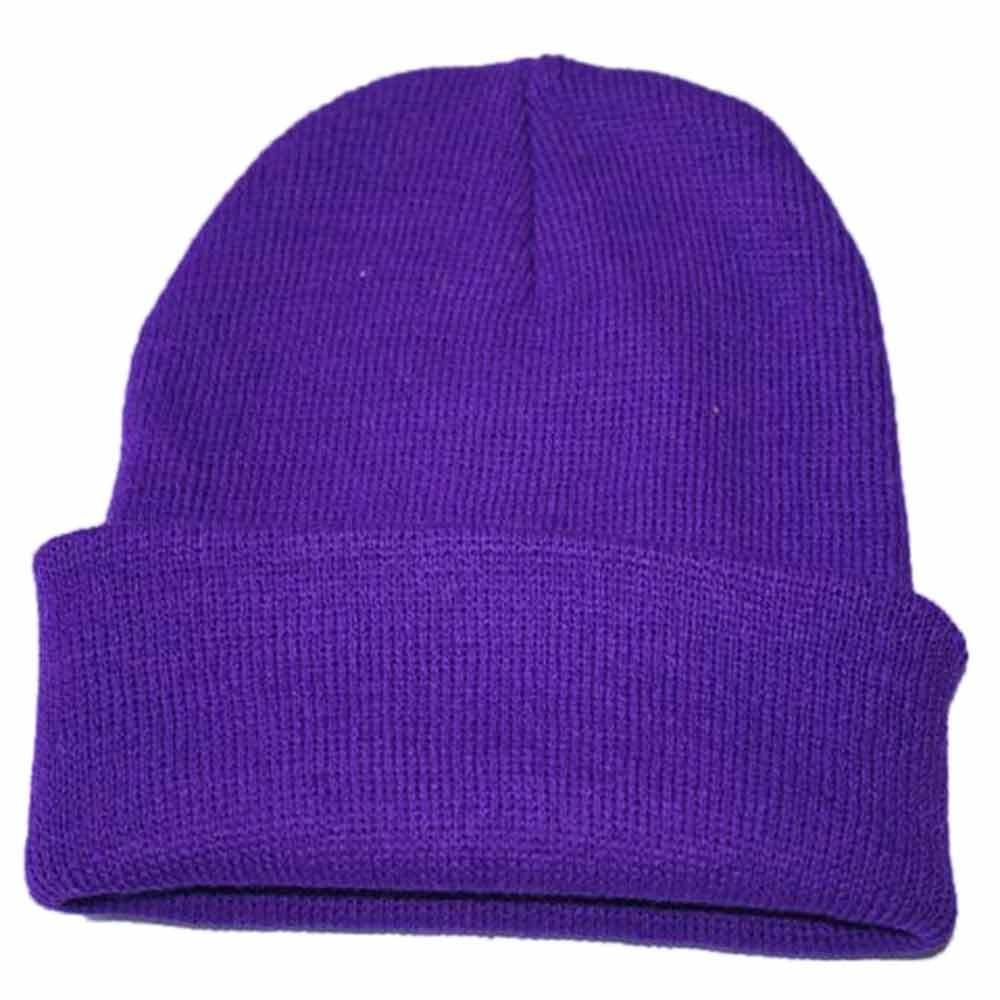 Осенне-зимняя одежда из шерсти смеси мягкий теплый вязаный Кепки Повседневное Chapeau унисекс сапоги высотой выше колена Вязание шапка в стиле хип-хоп кепка, теплая зимняя Лыжная шапка# Y5 - Цвет: Фиолетовый