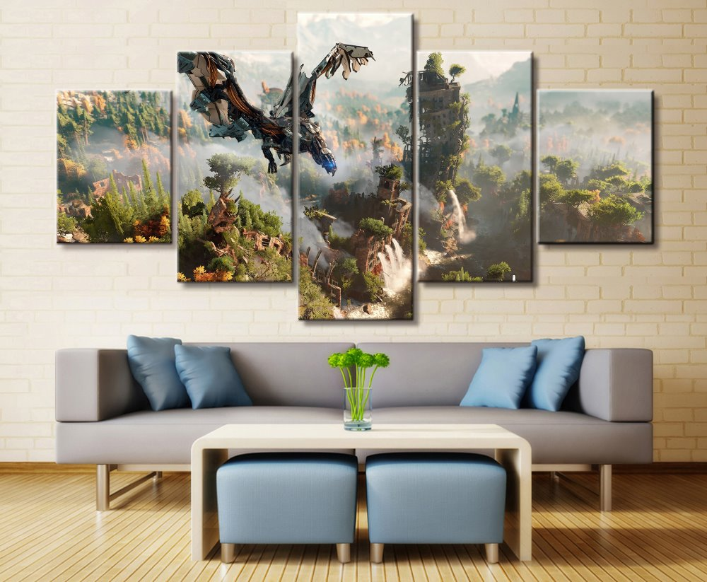 5 Panel HorizonZero Dawn Game Canvas Printed Painting For Living Room Wall Art Decor HD Picture