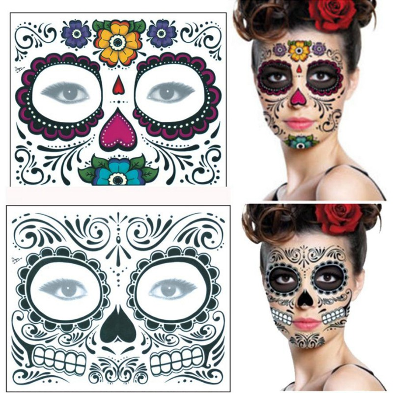 Halloween White//Pink Floral Bouquet Day Of The Dead Face Skull Party Her Mask