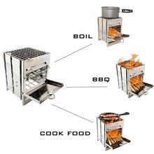 Portable Grill Rack Stainless Steel Stove Pan Camping