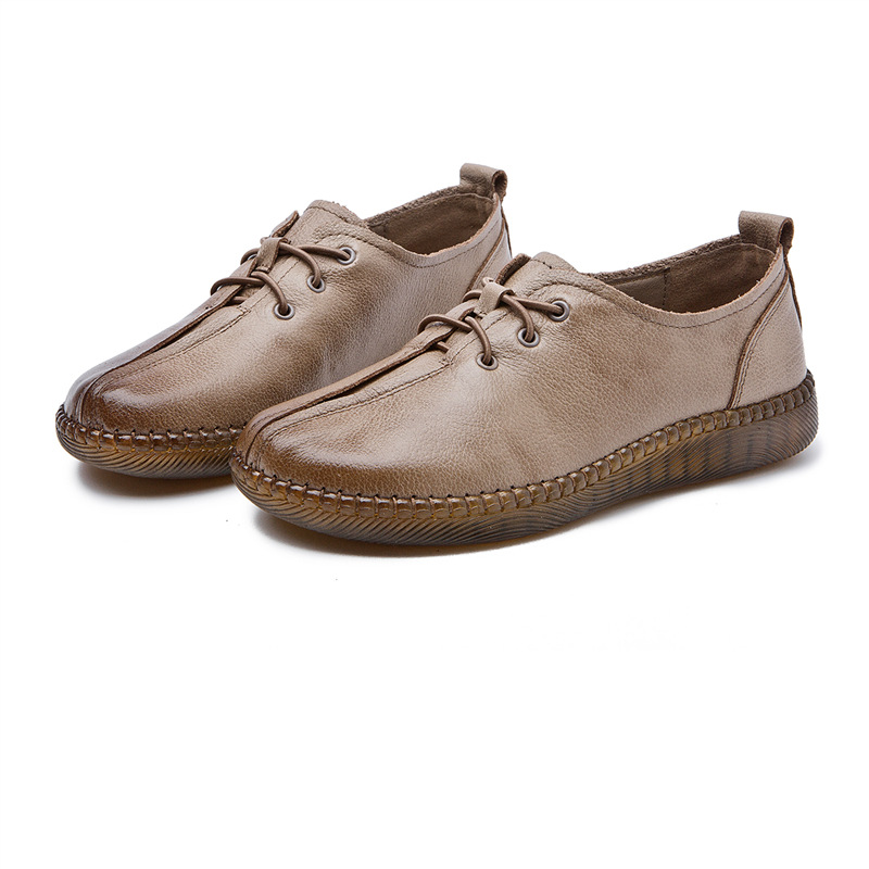 Leather shoes women 2020 spring new retro handmade women's shoes set foot casual shoes soft bottom