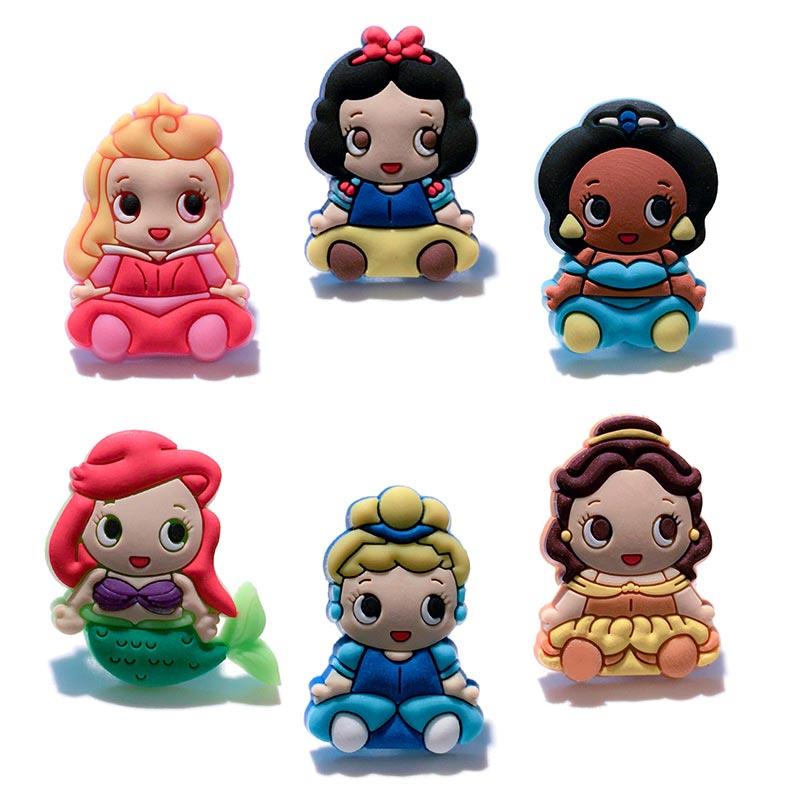 30pcs Mixed Cute Baby Princess Cartoon PVC Shoe Charms Shoe Accessories Shoe Buckles Croc Decoration Jibz Kids Gift