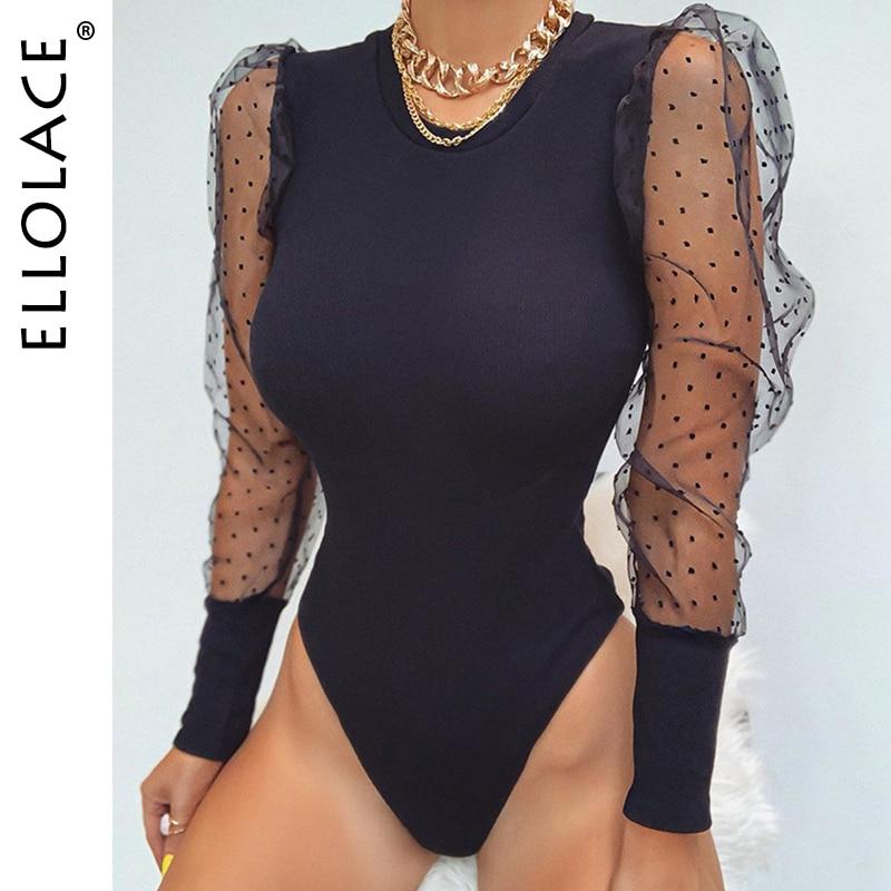 Женский сетчатый комбинезон Ellolace, однотонный Облегающий комбинезон с рукавами-фонариками, черный