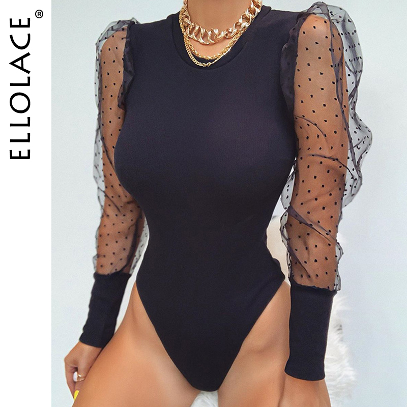 Ellolace Fashion Mesh Puff Sleeve Bodysuit Women Point Solid Female Basic Bodycon Rompers Black New Sexy Streetwear Overalls