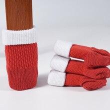 4Pcs/Set Christmas Anti-slip Chair Leg Socks Floor Protection Red Knitting Wool Socks