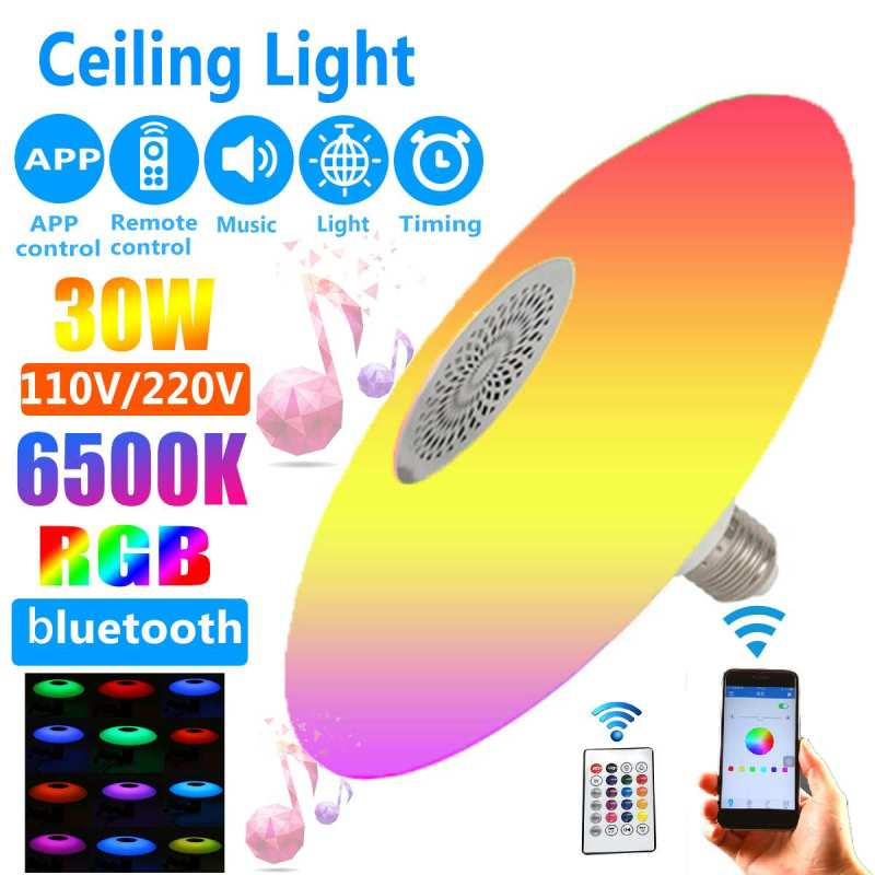 Ceiling Light 30W Modern Bluetooth Music LED  Home Lighting APP  Light Remote RGB Dimmable Bedroom Lamp Smart Ceiling Lamp 6500K
