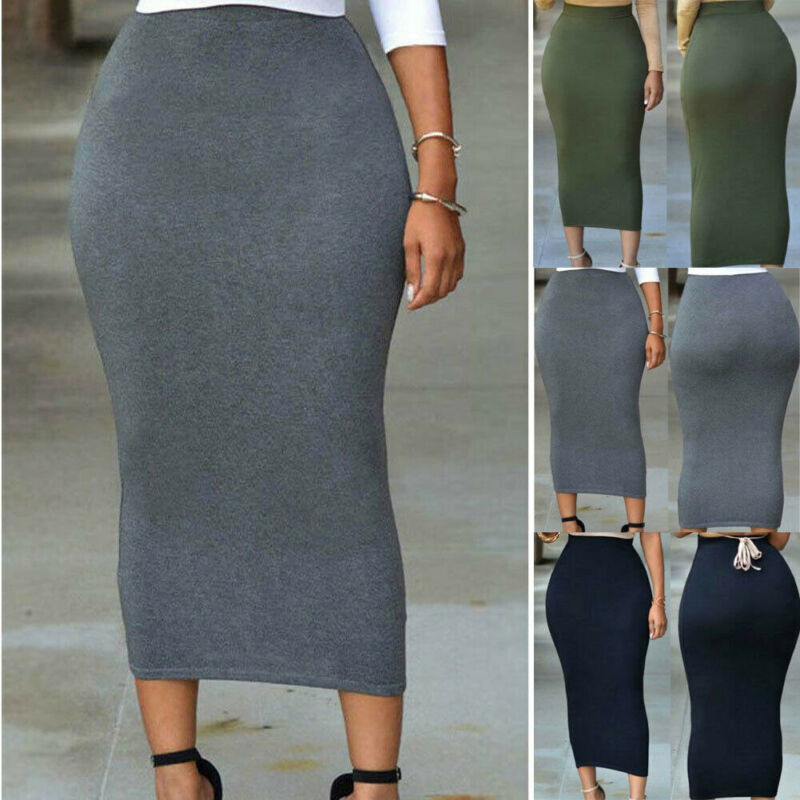 Womens Skirt 2019 Autumn Fashion New Plain Jersey Bodycon Tube Straight High Waisted Skirt Ladies Casual Stretch Midi Skirt Hot