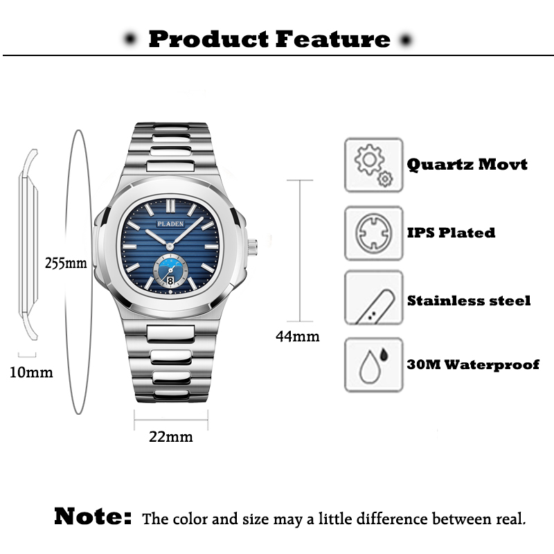 Image 5 - PLADEN Men Watch Luxury Brand Chronograph Black Dial 316L Stainless Steel Strap Quartz Clock Fashion Casual Ulysse Watch For MenQuartz Watches   -