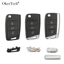 Okeytech 3 Buttons Remote Car Key Shell Case Cover Fob For Volkswagen Passat Golf 7 MK7 Skoda Seat Leon For Skoda Octavia cheap Without Smart Car key shell Smart Key case Metal+Plastic China Car Key Shell For Volkswagen Magotan Passat CC High Quality