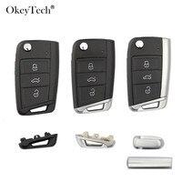 Okeytech-coque pour Volkswagen Passat Golf 7 MK7 Skoda Seat Leon   Boutons pour coque de clé de voiture à distance à 3 boutons